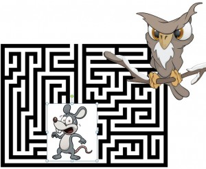Frightened looking mouse in a maze, with an owl ready to pounce
